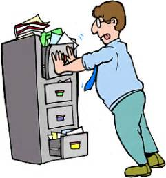 overfull file cabinet